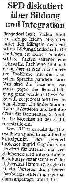 Bergedorfer Zeitung vom 28.03.2009